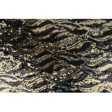 Meteor Sequins Mesh - black-gold