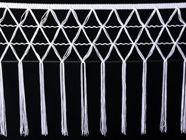 knotted crocher frędzle 30cm CHR-C - white