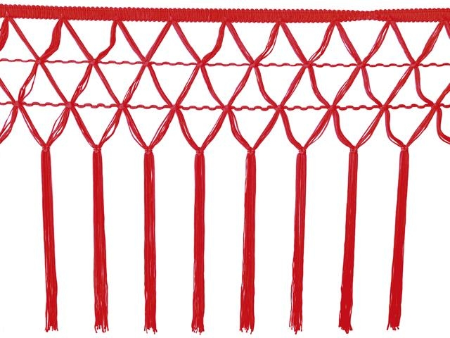 knotted crocher frędzle 30cm CHR-C - red