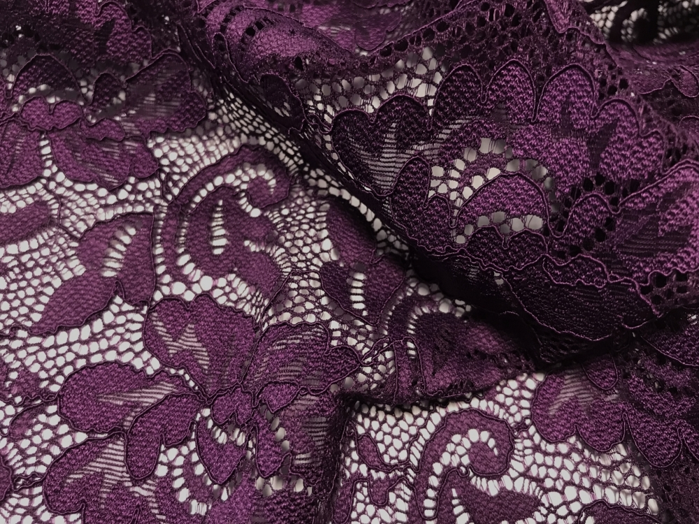 flower stretch lace CHR-C/PLUM