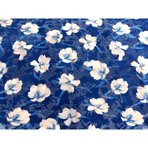 Hibiscus print velvet burnout white-blue