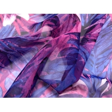 Tropical infusion georgette dark blue-pink