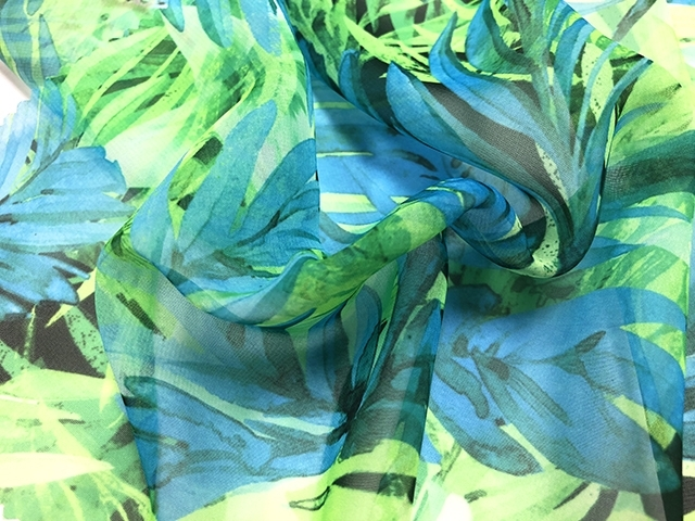 Tropical infusion georgette lt.blue-lime