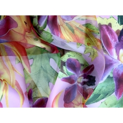 Floral infusion on georgette multi pink