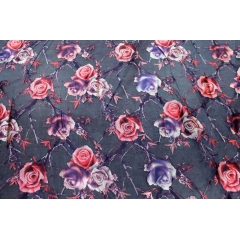 Metallic rose print on organza