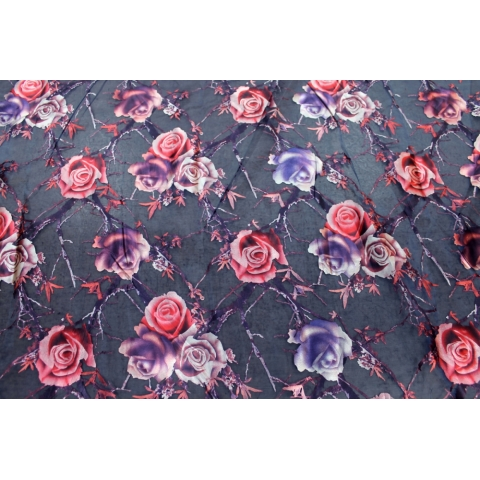Metallic rose print on organza