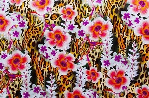 Floral Leopard  - smooth velvet, orange-natural
