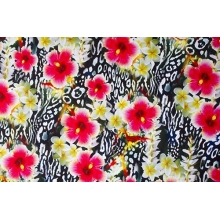 Floral Leopard  - lycra, scarlet-black