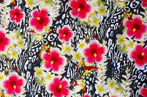 Floral Leopard  - smooth velvet, scarlet-black
