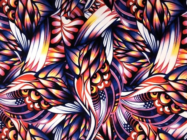 African Medley Printed Crepe - blue-pink