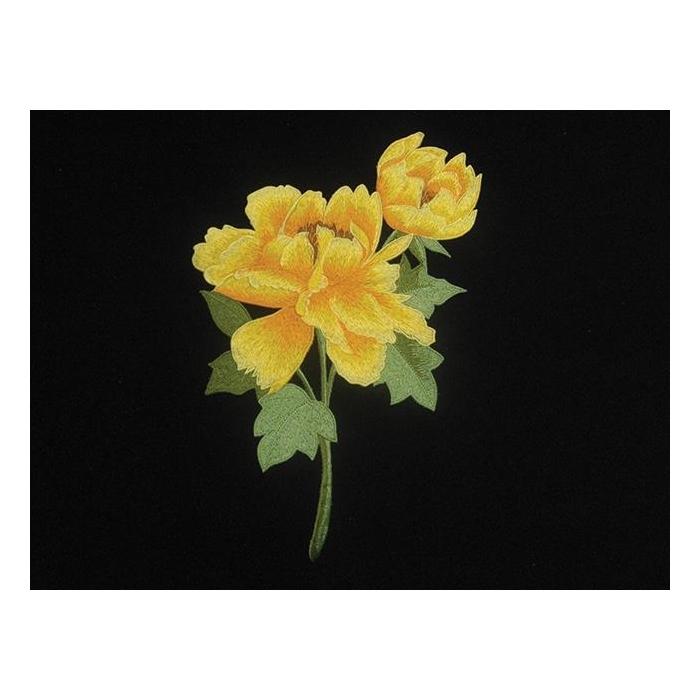 Poppy Flower Motif  - multi on red