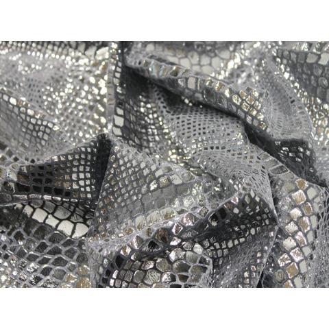 PYTHON FOIL VELVET silver on grey