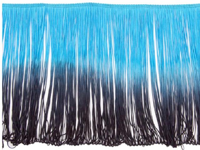 Frędzle cieniowane elastyczne 30cm DSI - turkus-black