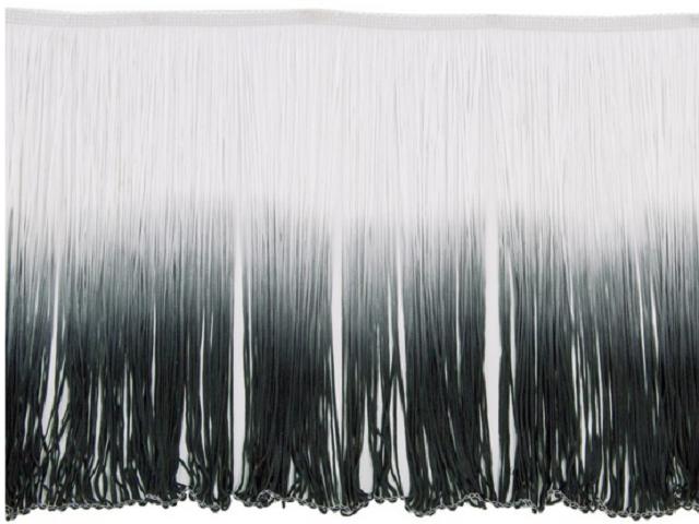 Frędzle cieniowane elastyczne 30cm DSI - white-black