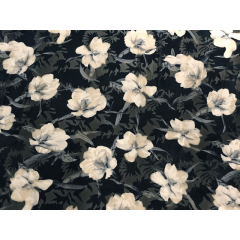 Hibiscus print velvet burnout white-black