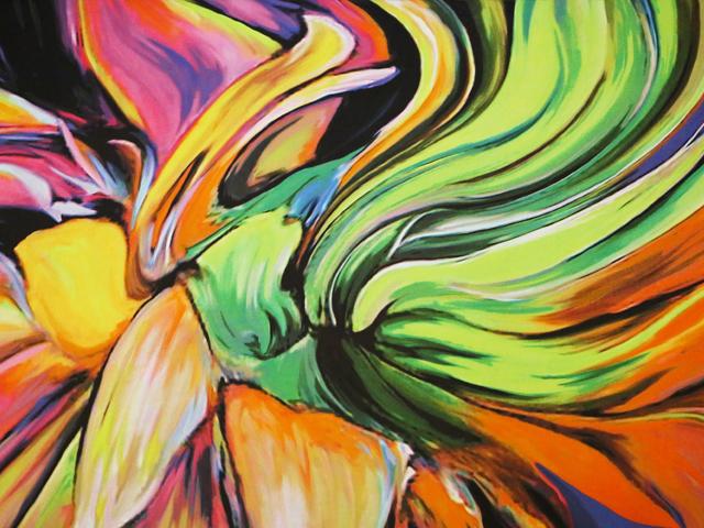 Abstract Swirl Georgette - multi green